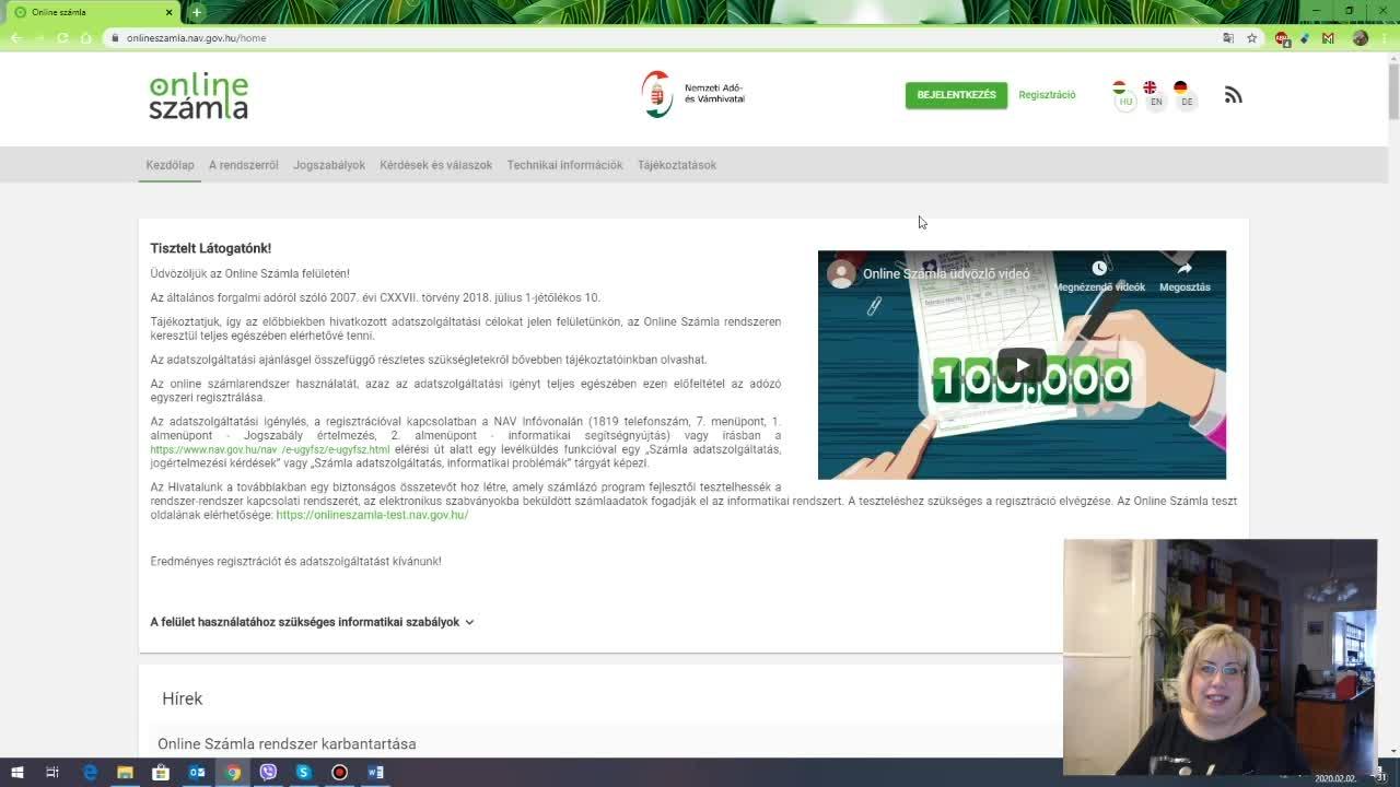 Onlineszámla adatszolgáltatás